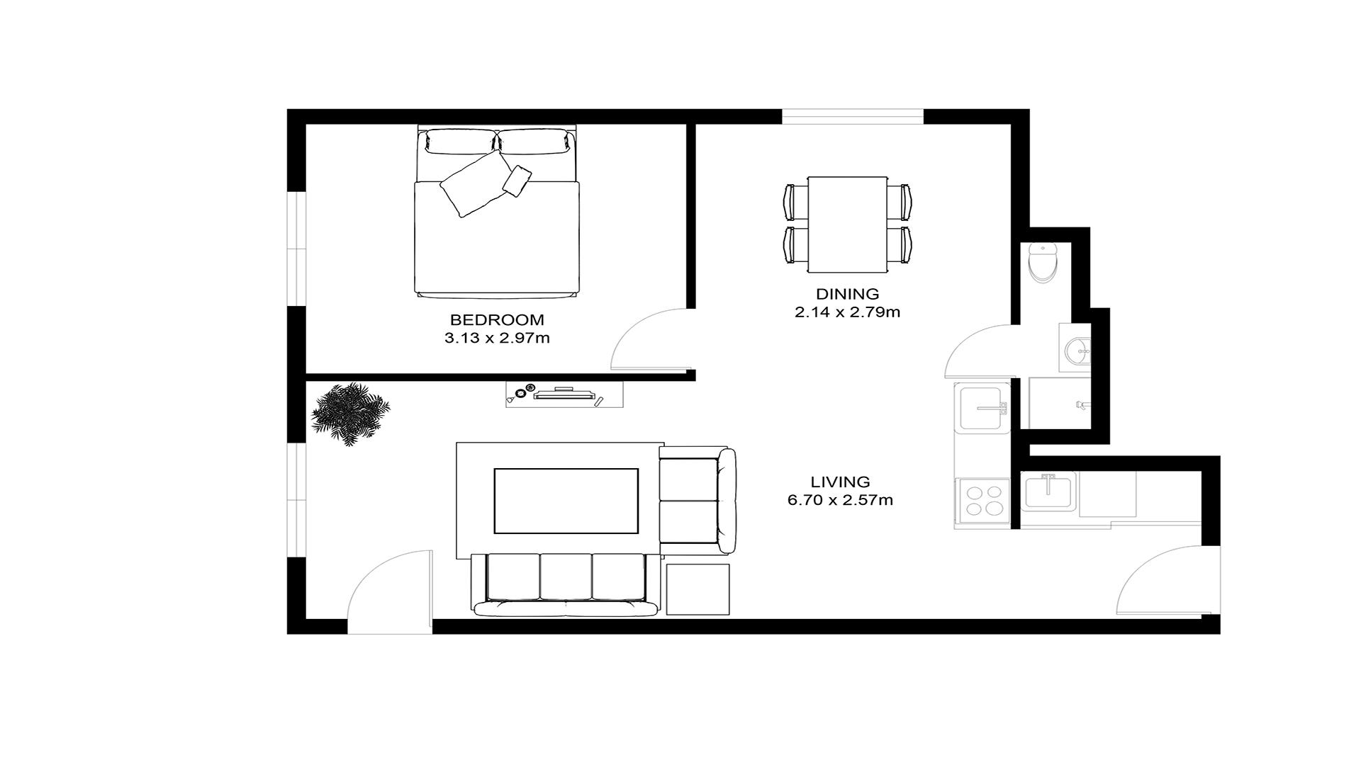 2D Black And White Full Furniture